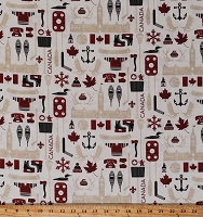 Cotton Canada Symbols Icons Hockey Maple Leaf O Canada Travel Canadian Classics 2 Cotton Fabric Print by the Yard (23125-11)