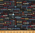 Cotton United States of America USA Landmarks Words Sayings States Cities Travel Cotton Fabric Print by the Yard (C10029-BLACK)
