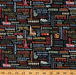 Cotton World Countries Cities Landmarks Travel Destination Cotton Fabric Print by the Yard (C10031-BLACK)
