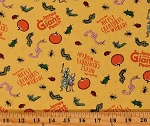 Cotton James and the Giant Peach Roald Dahl Kids Book Peaches Yellow Cotton Fabric Print by the Yard (C7741-YELLOW)
