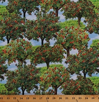 Cotton Apple Orchard Apples Trees Gala Multi Hobby Farm Food Farming Landscape Cotton Fabric Print by the Yard (08857-99)