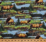 Cotton Elks Moose Landscape Scenic Nature Animals North American Wildlife Cotton Fabric Print by the Yard (AQHD-19186-268-NATURE)