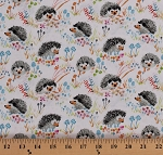 Cotton Hedgehogs Allover Cute Hedgehog Hedgies on White Mushrooms Fungi Flowers Floral Animals Nature Enchanted Forest Kids Cotton Fabric Print by the Yard (43499-1)