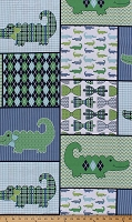 Cotton Gentleman's Quilt Patch Alligators Alligator Bowties Bowtie Chevron Argyle Stripe Houndstooth Cotton Fabric Print by the Yard (55283-1600715)