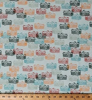 Cotton Retro Camera Cameras Photography Vintage Maara Cotton Fabric Print by the Yard (MAA-64910)