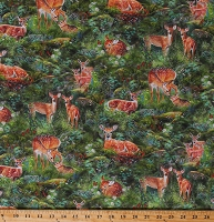 Cotton Fawns Deer Yearling Rabbits Realistic Animals North American Wildlife Flowers Woods Forest Northwoods Nature Cotton Fabric Print by the Yard (AQHD-19183-44 FOREST)