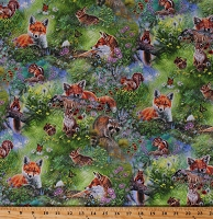 Cotton Woodland Animals Foxes Rabbits Squirrels Chipmunks Meadow Flowers Realistic North American Wildlife Nature Cotton Fabric Print by the Yard (AQHD-19184-270 MEADOW)