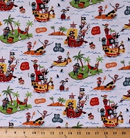 Cotton Pirate's Life Pirates Pirate Ships Islands Treasure Jolly Roger Kids White Cotton Fabric Print by the Yard (C7350-White)