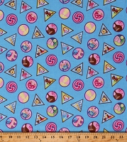 Girl Scouts GSUSA Scouting Skills Achievements Awards Merit Badges Blue Cotton Fabric Print by the Yard (C6771)