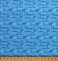 Cotton Girl Scout Code of Honor Blue Cotton Fabric Print by the Yard (DC6773)