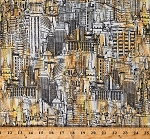 Cotton City Buildings Skyscrapers Cityscape Towers Architecture Gold Cotton Fabric Print by the Yard (CITY-C8316-MULTI)