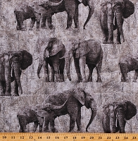 Cotton Elephants Animals African Safari New Dawn Gray Cotton Fabric Print by the Yard (DP23923)