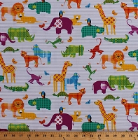 Cotton Animals Giraffes Elephants Lions Hippos Kids Multi-Color Zoo Jungle Safari Animals Gray Pinstripe on White Gone Wild Cotton Fabric Print by the Yard (4736-68)