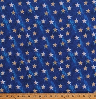 Cotton Stars Starry Allover on Blue A Royal Star American Icons Cotton Fabric Print by the Yard (118678)
