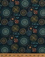 Cotton Tribal Circles Southwestern Native American Designs on Teal Native Heritage Cotton Fabric Print by the Yard (AKO-73716-213TEAL)