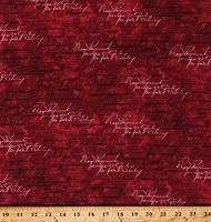 Cotton Cursive Words Text Vintage Handwriting on Red Cotton Fabric Print by the Yard (ERA-C8149-RED)