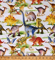 Cotton Dinosaur Friends Kids Animals Prehistoric Ancient White Cotton Fabric Print by the Yard (3DIN-1)
