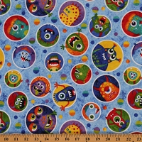 Cotton Stonehenge Monsters Glow-in-the-Dark Dots Circles Blue Kids Cotton Fabric Print by Yard (39327G-42)