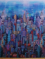 Cotton New York City Sky Line Skyline Cityscape City Scape Skyscraper Tower Buildings Urban Blues Purples Digital Print Cotton Fabric Print by the Yard (N4234-7-Blue)