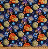 Cotton Planets Allover Outer Space Earth Saturn Jupiter Galaxy Astronomy Solar System Universe In Space Cotton Fabric Print by the Yard (1331BLACK)