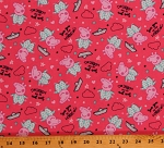 Cotton Peppa Pig Sea You in the Morning Sailor Hats Clouds Stars Hearts on Pink Kids Cotton Fabric Print by the Yard (66292-3800715)