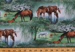 Cotton Horses Animals Nature Equestrian Willow Brook Scenic Green Cotton Fabric Print by the Yard (73047-A620715)