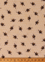 Cotton Bees Honeybees Bumblebees Honeycomb Honey Beehive Beekeeper Everyday Favorites Cotton Fabric Print by the Yard (AMKD-18968-138)