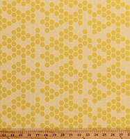 Cotton Honeycomb Beekeepers Beekeeping Bees Honey Run Country Farm Cotton Fabric Print by the Yard (C8384 YELLOW)