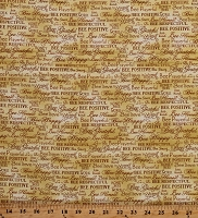 Cotton Words Script Encourage Inspire Bees Honeybees on Yellow Bee Kind Cotton Fabric Print by the Yard (120-99251)