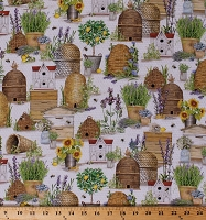 Cotton Bees Honeybees Bee Skeps Beehives Flowers Flowerpots Floral Lemon Trees Farm Beekeeper Country Gardening Everyday Favorites Cotton Fabric Print by the Yard (AMKD-19127-138 HONEY)