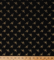 Cotton Bees Honeybees Insects Beekeeping Beekeepers Metallic Gold Shimmer on Black Precious Metal Nature Cotton Fabric Print by the Yard (51408M-1)