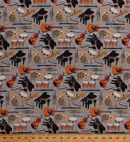 Cotton Musical Instruments Piano Violins Drums Musicians Orchestra Let The Music Play Cotton Fabric Print by the Yard (9718-90)