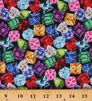 Cotton Jewels Gems Gemstones Ruby Emerald Sapphire Diamond Colorful Jewel Box Cotton Fabric Print by the Yard (DP23371-99BLACKMULTI)