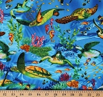 Cotton Ocean Fish Turtles Fishes Sting Rays Coral Blue Cotton Fabric Print by the Yard (OCEAN-C6154-BLUE)