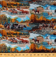 Cotton Horses Cowboys Fall Scene Mountain Pass Multicolor Cotton Fabric Print by the Yard (ZD-74135-001)