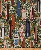 Cotton Surf Boards Surfing Hawaii Tropical Ferns Malibu Cotton Fabric Print by the Yard (BBHC900KHAKY-49)