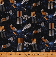 Cotton International Space Station Hubble Space Telescopes Technology Planetary Missions Navy Cotton Fabric Print by the Yard (5304-73)