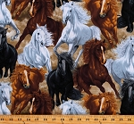 Cotton Wild Horses Equestrian Animals Galloping Horses Untamed Multicolor Cotton Fabric Print by the Yard (HORSE-C7776-MULTI)