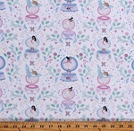 Cotton Ballerinas Ballet Slippers Music Boxes Dancing Flowers Birds Stars Keys White Cotton Fabric Print by the Yard (STELLA-1639-WHITE)