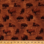 Cotton Bison Buffalo Nature Animals Yellowstone National Park Brown Cotton Fabric Print by the Yard (949233)