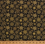 Cotton Snowflakes Snowflake Winter Christmas Joy Holiday Gold Metallic Shimmer Cotton Fabric Print by the Yard (4695M 99)