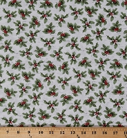 Cotton Winter Holly Leaves and Berries on White Christmas Holidays Sheltering Snowman Coordinate Cotton Fabric Print by the Yard (1303-6)