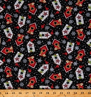 Cotton Bird Houses Cardinals Snowflakes Winter Christmas Holidays Snow Place Like Home Black Cotton Fabric Print by the Yard (5164-98)