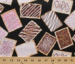 Cotton Breakfast Club Pop-Tarts Frosted Sugar Pop Tarts Black Cotton Fabric Print by the Yard (05715-12)
