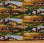 Cotton Whitetail Deer Scenic Farm Barns Fields Nature Country Farming Whitetails Cotton Fabric Print by the Yard (8901MULTI)