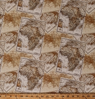 Cotton Africa African Expedition Maps Travel Explore Explorer Vintage Look Cartography Cotton Fabric Print by the Yard (51632-X)