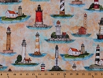 Cotton Lighthouse Lighthouses Keeper Ocean Seaside Nautical Smooth Sailing Cotton Fabric Print by the Yard (1649-27160-S)