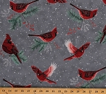 Cotton Cardinals Birds Winter Evergreen Berries Snow Snowing Gray Cotton Fabric Print by the Yard (S7707-147STORM)