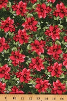 Cotton Poinsettias Flowers Berries Christmas Holiday Floral A Poinsettia Winter Jason Yenter Green Red Cotton Fabric Print by the Yard (4APW-1)