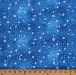 Cotton Snow Winter Snow Flakes Christmas Tree Blue Cotton Fabric Print by the Yard (22266-45)